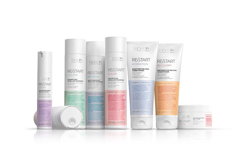 La gama de productos para el cabello RE/START de Revlon Professional®.
