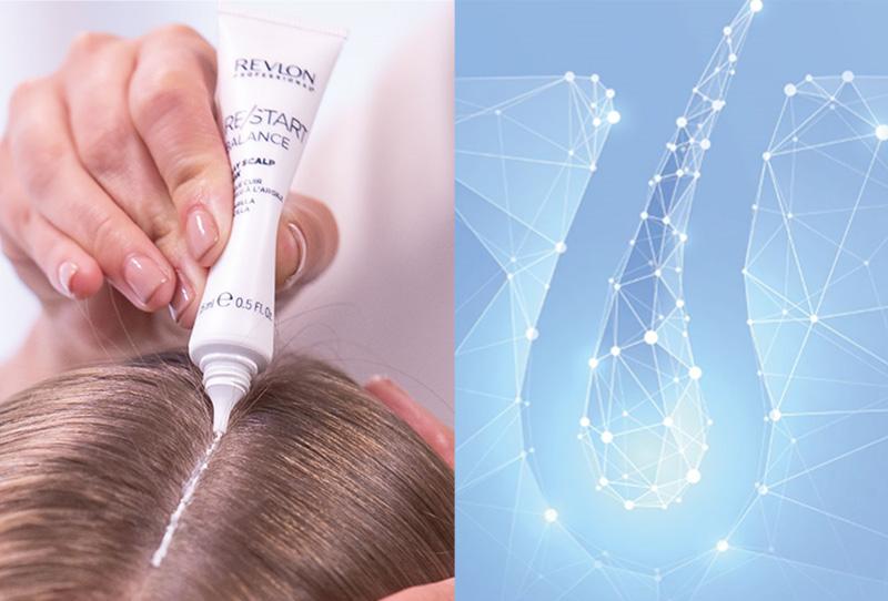 Una mano aplicando RE/START Balance un tratamiento para el cuero cabelludo de Revlon Professional®