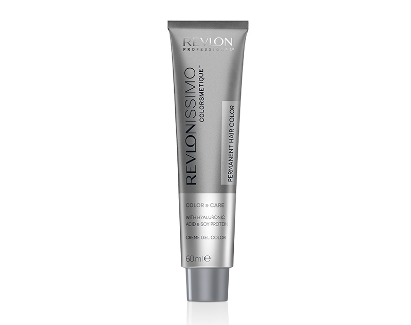A tube of the new revlonissimo colorsmetique, formulated with cosmetic ingredients by Revlon Professional®